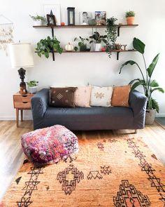Modern Boho, Vintage moroccan rug and moroccan pouf Modern Decoration modern moroccan decor Modern Moroccan Decor, Moroccan Decor Living Room, Moroccan Home Decor, Moroccan Pouf, Moroccan Interiors, Boho Living Room, Modern Boho, Modern Decor, Living Room Decor