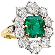 2.20 Carat Colombian Emerald Diamond Cluster Ring | From a unique collection of vintage cluster rings at https://www.1stdibs.com/jewelry/rings/cluster-rings/