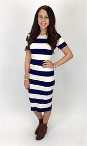 Junky Trunk Boutique. Academy Midi Dress. Adorable navy and white stripped knee length dress!