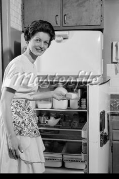 Stock Photography, Royalty-Free Photos & The Latest News Pictures How To Make Pickles, Retro Fridge, Vintage Housewife, 1950s House, The Old Days, Googie, Stick Of Butter, Homemaking, Vintage Kitchen