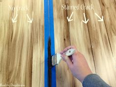 Looking for a way to freshen up that old table? Check out this awesome faux planked table transformation! Full tutorial for using white paint and stain. Painting Laminate Table, Laminate Furniture, Furniture Upholstery, Make A Table, Diy Table, Painted Table Tops, Chalk Spray Paint, Plywood Projects, Diy Projects