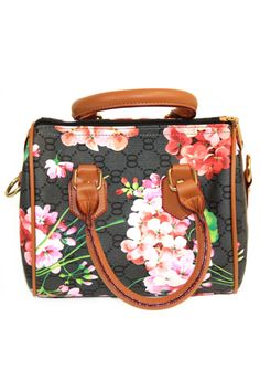 Black Monogram Handbag With Bloom Print