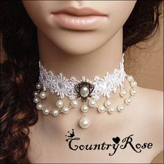 Porcelain Gothic Vintage White Flower Lace Necklace with White Pearl droplet Choker on Etsy, $6.50