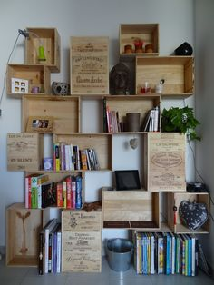 Show original image Afficher l& d& Show original image Wine Box Shelves, Wall Shelves, Wine Crate Coffee Table, Tiny House Layout, Vintage Crates, Wall Boxes, Bookshelves, Crate Bookshelf, Home Projects