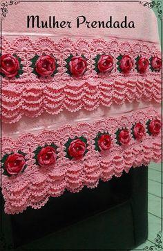 Crochet Towel, Crochet Doilies, Crochet Flowers, Knit Crochet, Crochet Blanket Edging, Crochet Baby Dress Pattern, Crochet Crafts, Crochet Projects, Stitch Patterns