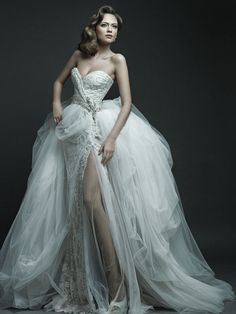 Puffy Princess wedding dress Skirt/Train with slim sexy long slit dress underneath