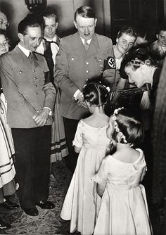 reich-mystery: Hitler with Joseph Goebbels, two of Goebbels' children Helga and Hilde and wife Magda.