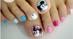 diseno unas pies, toes nail design Minnie Mouse