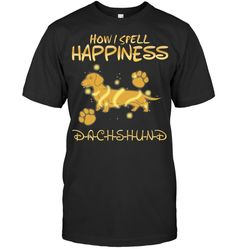 Dachshund Central Poodle, Spelling, Dachshund, Corgi, Happiness, Tees, Happy, Mens Tops, T Shirt