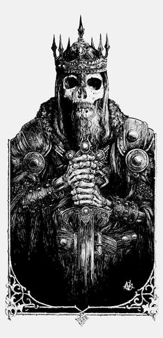 Vance Kelly. I seriously was going to make a drawing of a skeleton dressed in a medieval King's clothing...what a bummer that my idea wasn't original, but beautiful artwork!