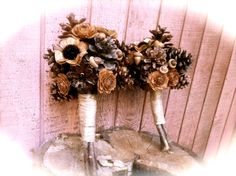 Rustic bridesmaid pine cone bouquet wedding by MomoRadRose on Etsy, $35.00