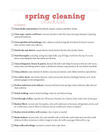 Free Printable Cleaning Checklist Forms  Click On The Spring