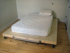 "This is an oldie, but a goodie. Back when Berkeley-based ReadyMade was still just a gleam in Meredith Corp's eye, Shoshana Berger made a splash with a preview issue that included instructions on how to make a ""meat cart"" platform bed.  Sound sexy? Well, it actually was. With just casters and a simple ladder frame as supports, its minimalism rivals that of the Ligne Roset Maly bed -- but for a whole lot less green."