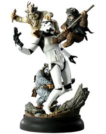 """fall of the empire - ewoks vs. stormtrooper polystone diorama"" from sideshow collectibles. words cannot describle"