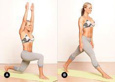 Flowing Warrior 1  Target Muscles: glutes, quads, hamstrings, shoulders