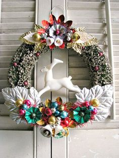 vintage style wreath.  Reminds me of the ornaments my mom always hung!  Love how colorful and cheery this is :)