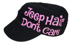 """NEW! Neon Pink Glitter """"Jeep Hair Don't Care"""" Black Cadet Cap!  Order at www.shopspiritcaps.com!"""