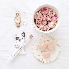 macarons + roses
