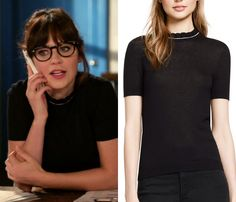"""Short-sleeved black sweater with a frill neckline and contrast piping from last night's episode of New Girl """"Landline""""!"""