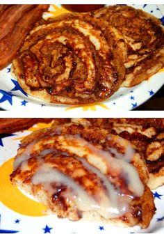 Delicious #Cinnamon Bun #Pancakes.  Click For Recipe