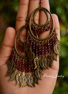 Large exotic bohemian chandelier earrings, Exotic Victorian earrings, Ethnic earrings, Indian inspired earrings, Colorful earrings, Etsy jewelry, Plummy Jewelry