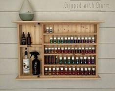 Essential Oil Holder, Essential Oil Storage, Essential Oil Uses, Young Living Oils, Young Living Essential Oils, Bathroom Shelves, Wall Shelves, Wood Shelf, Bathroom Storage