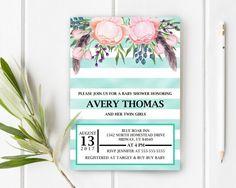 Boho Modern Chic Baby Shower Invitation, Flower And Stripes Baby Shower Invite, DIY Baby Shower, Teal Floral Baby Shower, Item 241