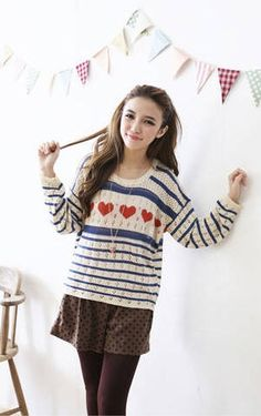 Sweetie Heart Hollow Stripes Women Pullover Irregular Sweater Blue on BuyTrends.com, only price $12.00