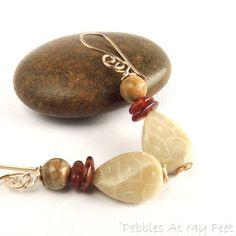 Fossil Coral Earrings Handmade Beaded Earrings by PebblesAtMyFeet