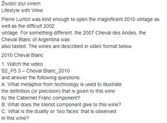 New quiz. Go on youtube.com and find this S2_P5.3 - Cheval Blanc_2010 watch it and answer the following questions.