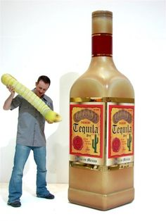 Giant Tequila Bottle Prop. http://www.eventprophire.com #photo #prop #booth #western #tequila #worm #funny