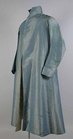 Gentleman's blue/green long iridescent silk robe, 1805-1815 - Museum Rotterdam