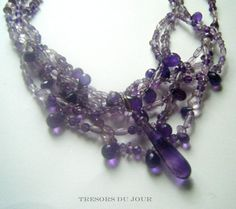 Unique AMETHYST BEAD Statement  NECKLACE with large amethyst briolettes; Handmade by TresorsDuJour  #AmethystStatementNecklace #TresorsDuJour