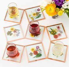 DIY Pressed Flower Coasters