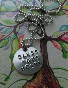 ON SALE Handstamped Bless Your Heart necklace by sassyfrassx3