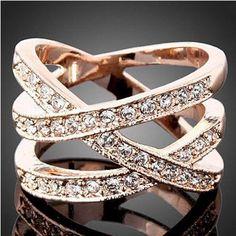 Chic 18K Rose Gold Crystal Rhinestone Birds Nest Wedding Finger Ring Jewelry