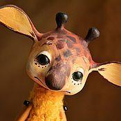 Жирафик, игрушка в смешанной технике.
