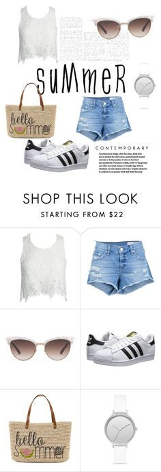 """""""Untitled #6"""" by em03071999 ❤ liked on Polyvore featuring Sans Souci, rag & bone/JEAN, Gucci, adidas Originals, Straw Studios, Skagen and BCBGMAXAZRIA"""