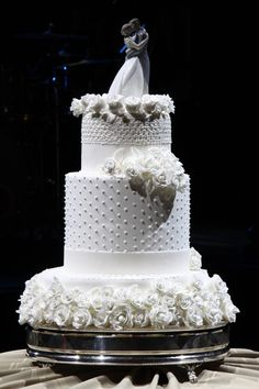 An elegant wedding and wedding party in Sao Paulo, Brazil. The cake in detail.