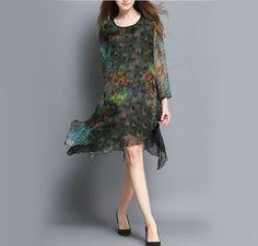 Womens Chiffon Dress with Peacock Print - AmtifyDirect