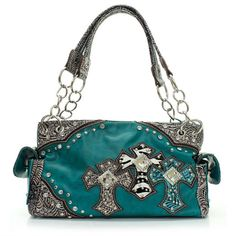 Rakuten.com:Handbags Bling and More|Turquoise Western Style Triple Cross with Diamonds Purse Conceal Purse|Uncategorized