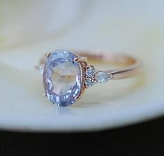 Engagement Ring Rose gold engagement ring Lavender Sapphire