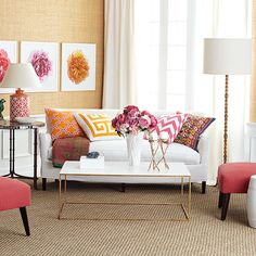 Gold coffee table and Gold lamp adds shine