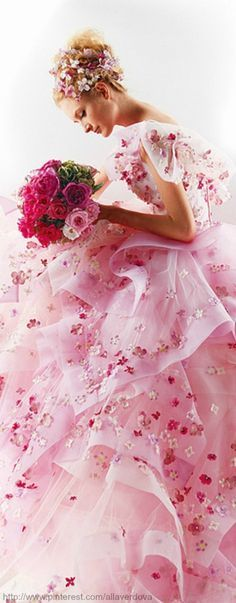 Beautiful pink gown. Would be a lovely pink wedding dress!