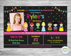 Princess and Superhero Personalized Invitation, Princess Invite, Superhero Invitation, Custom, Digital, Printable, Birthday Party, Boy, Girl by RainbowLaneDesigns on Etsy