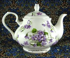 This is a wonderful large English bone china cup teapot made by Springfield, England in the pretty pattern Violet or Wild Violets with gold trim. The teapot was made in 2012 and measures inche Fancy Tea Cups, Teapots And Cups, Teacups, China Teapot, Sweet Violets, China Tea Sets, Tea Art, My Cup Of Tea, Tea Service