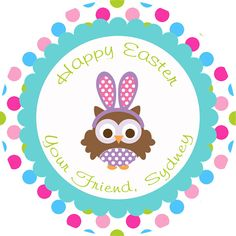 Instant download printable easter gift tags diy by subwayparty easter bunny owl thank you gift tag diy printable personalized easter decorations negle