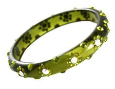 """Trendy, Beautiful Hunter Green Resin Bangle Bracelet With Green and Ice Crystal Flowers ~ Medium Size Bracelets by Ks Charming Designs. $18.00. Gorgeous, Trendy Fashion Cuff Bracelet. Acrylic/Resin Bangle; Nickel/Lead Free. Comes in gift packaging by Ks Charming Designs. 2 3/4"""" in Diameter (MEDIUM SIZE) and Just Shy of 1/2"""" Wide. Adorned with Beautiful Green and Ice Crystal Flowers"""