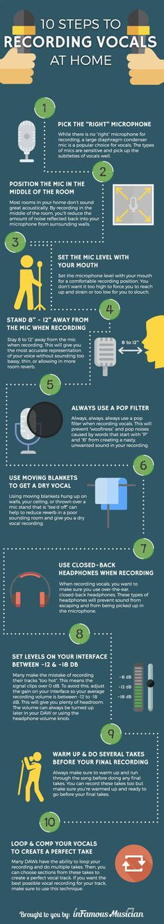 10 Steps to Recording Better Vocals at Home. Learn 10 tips for recording vocals and getting great sounding results even if you're recording in a poor sounding space: www.infamousmusic...