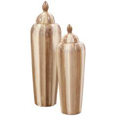 Howard Elliott Cream & Mocha Ribbed Ceramic Urn - Short 32079